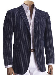 VELVET PAISLEY PRINT NOTCH LAPEL TWO-BUTTON BLAZER NAVY. Prices are exclusive to online sales.
