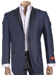 PEAK LAPEL BLAZER WITH PU TRIM. Prices are exclusive to online sales.