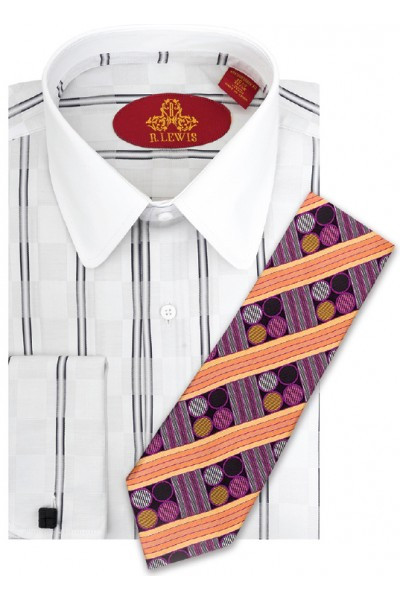 RL250D WHITE/BLACK. Robert Lewis Uptown Dress Shirts 100% Cotton Contrast Spread Collar Button Placket French Cuff. Tie not included.