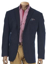 SINGLE-BUTTON JACQUARD BLAZER WITH CONTRAST PEAK LAPEL NAVY. Prices are exclusive to online sales.