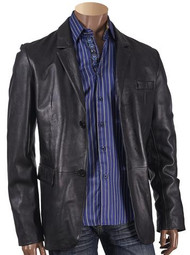 BLACK LEATHER BLAZER. Prices are exclusive to online sales.