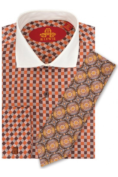 RL224D BROWN.  Robert Lewis Uptown Dress Shirt.  100% Cotton Contrast Spread Collar. Button Placket French Cuff. Tie not included.