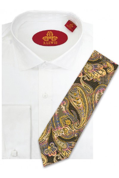 RL237D WHITE.  Robert Lewis Uptown Dress Shirt.  100% Cotton Contrast Spread Collar. Button Placket French Cuff. Tie not included.