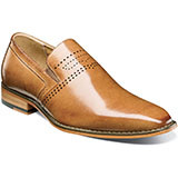 Set the bar high with the Stacy Adams Saunders Plain Toe Slip-on. A variety of versatile colorways is the missing piece of any outfit there's a combination for every occasion just waiting to be worn.    Plain toe slip-on. Genuine buffalo leather uppers with breathable leather linings. Fully cushioned insole with Memory Foam for added comfort. Non-leather outsole.