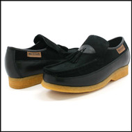 British Collection King Old School Slip On Black Suede Shoes