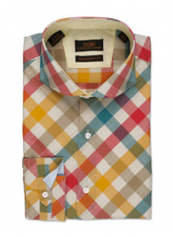 Steven Land 100% cotton french cuff shirt. DA513 MULTI