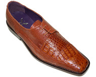 """Carlino"" by David x a croodile and lizard shoe in Cognac"
