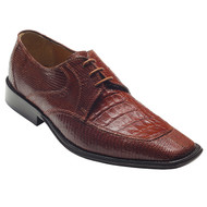 """Mory"" by David x a genuine croocodile and lizard shoe in Cognac"
