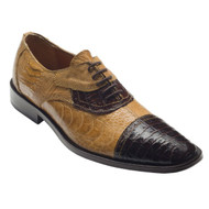 """Terra"" by David X. A Two- Toned genuine croocodile and ostrich shoe in Brown/Bone"
