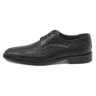 """Monte"" by David X.  A genuine lizard and ostrich shoe in Black"