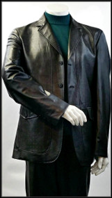 Blu Martini 3 Button Vegan Leather Blazer in Black. Prices are exclusive to online sales.
