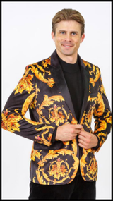 Prestige Peak Collar Barocco Printed Blazer with a Luxury Velvet finish. Modern Fit Tailored. Prices are exclusive to online sales.