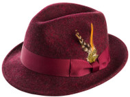 Featuring a real satin lining, this all Wine fedora hat has the styles to make your moves come alive. Made of 100% Wool Felt. Prices are exclusive to online sales.
