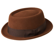 Our Breed group salutes the pioneers of style: the experimenters, the avant garde, the most intriguing troubadours of style. Our most directional, stylish and sophisticated hats sit in Breed. This hat is made with our famous LiteFelt® finish, a revolutionary treatment process that takes a natural unstiffened premium wool felt hat and makes it water repellant and shape retentive. LiteFelt® adds a tough and indestructible element, combining style and function and is our best selling finish. Matte black staple logo, nailhead detail on Japanese grograin. Comfort sweatband. 100% wool. Made in the USA. Prices are exclusive to online sales.