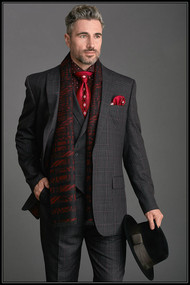 Steven Land men's fashion Charcoal Plaid 3 piece suit featuring a 1 button peak lapel fashion fit jacket with double vents, double breasted vest and single pleat wide thigh pants.Prices are exclusive to online sales.   •– 3 Piece Fashion Fit Vested Suit •– 1 Button Peak Lapel Jacket •– Side Vents •– Double Breasted Vest •– Single Pleat Wide Thigh Pants •– Poly Blend