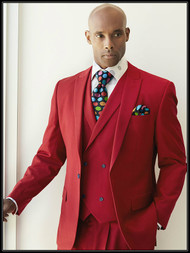 Steven Land men's fashion Red 3 piece suit featuring a 1 button peak lapel fashion fit jacket with double vents, double breasted vest and single pleat wide thigh pants.Prices are exclusive to online sales.   •– 3 Piece Fashion Fit Vested Suit •– 1 Button Peak Lapel Jacket •– Side Vents •– Double Breasted Vest •– Single Pleat Wide Thigh Pants •– Poly Blend