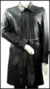 Blu Martini Vegan Leather 3/4 Black Jacket with Belt. Prices are exclusive to online sales.