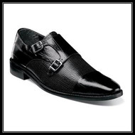 The abstract scratch and eelskin print leather uppers of the Stacy Adams Gardello Leather Sole Cap Toe Monk Strap give the shoe an exotic vibe. With its elegant double buckle, the Gardello is a bold shoe that exudes good taste. Price are exclusive to online sales.  Cap toe monk strap Eelskin and scratch print leather uppers with manmade linings Fully cushioned insole with Memory Foam for added comfort Leather sole