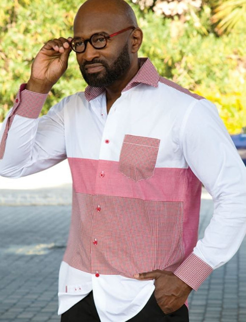 Men's Downtown Dress Shirt by Robert Lewis. This versatile shirt can be  with or without tie. Prices are exclusive to online sales.  -100% Cotton   -Spread Collar  -Regular Cuff  -White with Polka Dot detail.