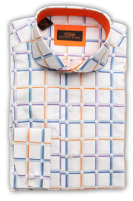 Gradient stripes create a fun plaid design on this colorful casual/dress shirt. The plaid is raised slightly, giving the shirt a little texture. Trim Fit, Rounded Spread collar, round French cuffs, 100% cotton. Prices are exclusive to online sales.