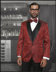Slim Fit Suit with an arabesque arrangement in the color red. Comes with the matching bowtie. Prices are exclusive to online sales.