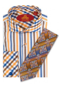 Robert Lewis uptown 100% cotton french cuff shirt. RL244D, Tie Sold seperatly.