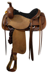 "16"" SH516-16 Showman Roping Saddle Olin Young Tree Roping Warranty"