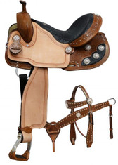 Double T barrel style saddle set with black alligator print seat. This saddle features a black alligator print seat, basket weave tooled skirts, pommel and cantle accented with crystal rhinestone conchos.