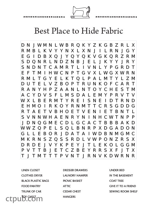 tuesday fun free word search puzzle for quilters c t publishing. Black Bedroom Furniture Sets. Home Design Ideas