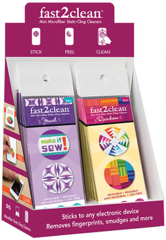 fast2clean Jewel & Rainbow Mini Microfiber Static-Cling Cleaners POP Display featuring designs by Sam Hunter, Amy Garro, Janice Ryan & Rebecca Bryan #fast2clean