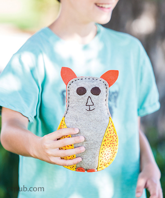 Stuffie from The Amazing Stitching Handbook for Kids: 17 Embroidery Stitches • 15 Fun & Easy Projects by Kristin Nicholas #TheAmazingStitchingHandbookforKids