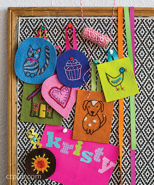 Stitched tags from The Amazing Stitching Handbook for Kids: 17 Embroidery Stitches • 15 Fun & Easy Projects by Kristin Nicholas #TheAmazingStitchingHandbookforKids