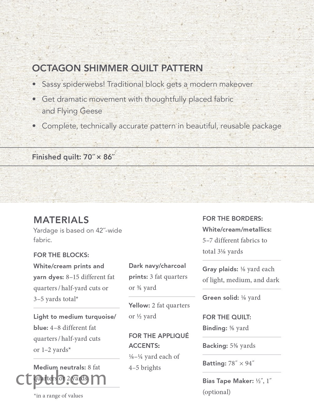 Octagon Shimmer Quilt Pattern Materials