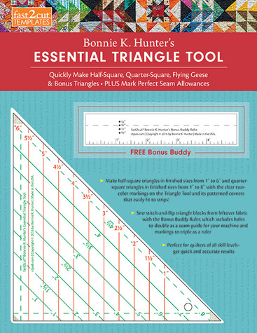 fast2cut Bonnie K. Hunter's Essential Triangle Tool: Quickly Make Half-Square, Quarter-Square, Flying Geese & Bonus Triangles * Plus Mark Perfect Seam Allowances * FREE Bonus Buddy Ruler designed by Bonnie K. Hunter