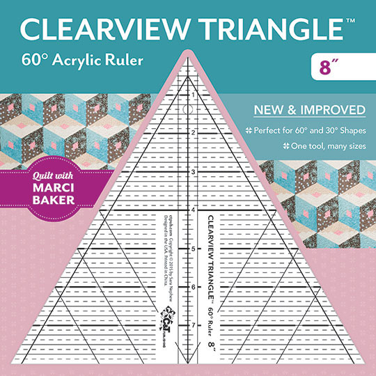 Clearview Triangle 60 degree Acrylic Ruler 8 inch designed by Sara ... : 60 degree ruler quilting - Adamdwight.com