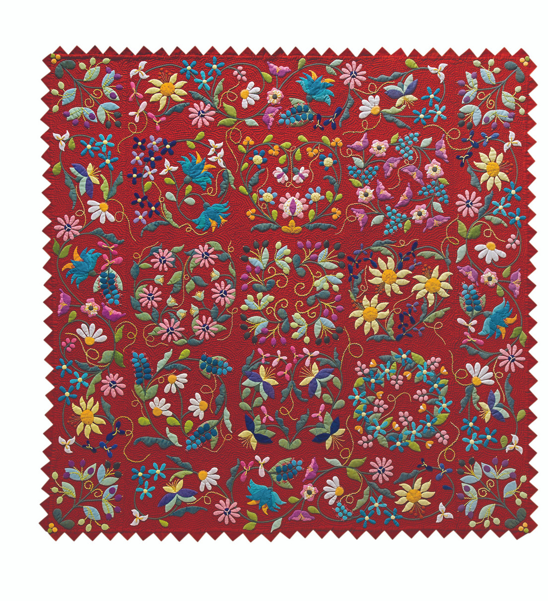 This pattern pack includes complete instructions for a gorgeous floral quilt in two colorways, plus instructions to turn any of the 9 blocks into a sophisticated pillow.