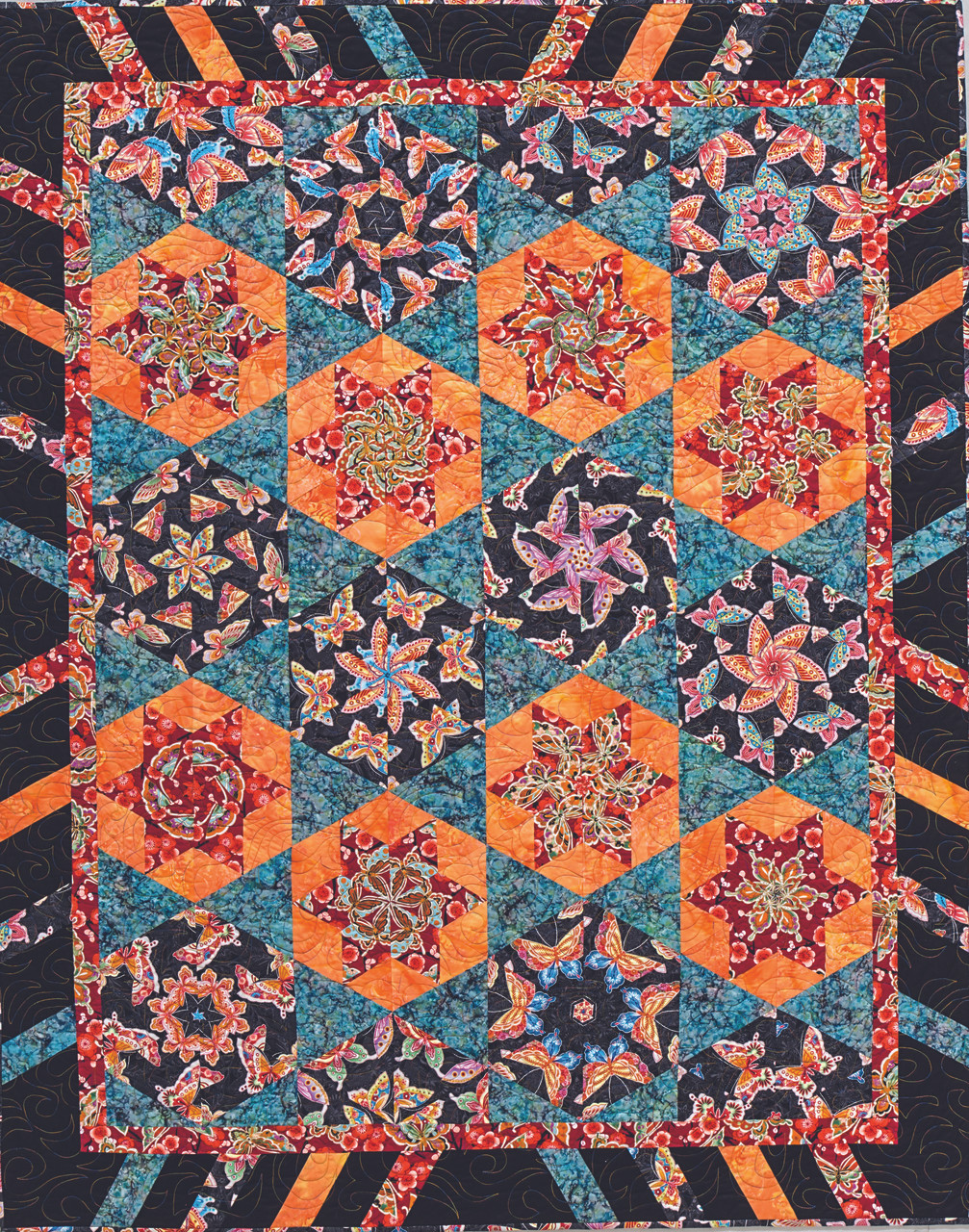 Stack and cut triangles, diamonds, flat pyramids, gem shapes, and more to creating stunning quilts with large-scale fabrics.