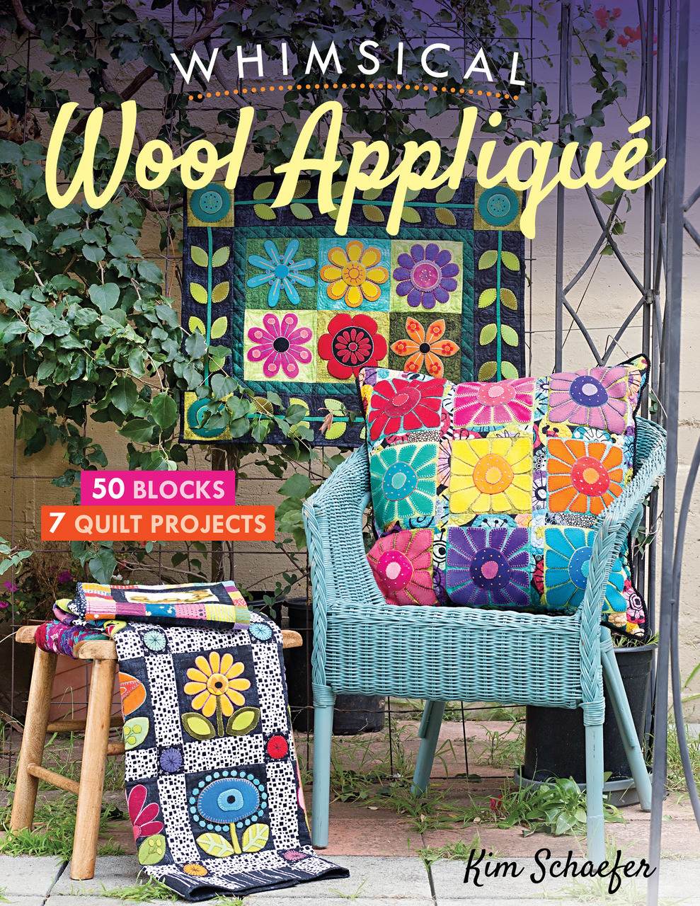 Cozy up to wool appliqué with fifty colorful garden blocks to mix and match! Best-selling author Kim Schaefer shares seven easy wool appliqué projects to teach you embroidery basics or to bring your hand stitching to the next level. Layer luscious flowers, birds, and butterflies of wool on top of cotton fabric, then add the embroidered finishing touches to fusible appliqué wall quilts, table toppers, and pillows. It's the perfect primer for every skill level.