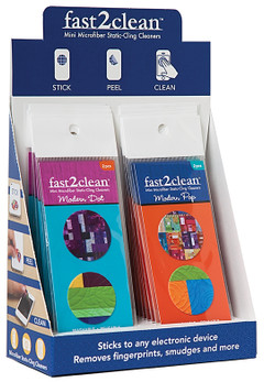 fast2clean Modern Bright Mini Microfiber Static-Cling Cleaners POP Display: 16 Packages, 2 Designs, Sticks to any electronic device, Removes fingerprints, smudges and more featuring designs by Cheryl Arkison and Kim Schaefer #fast2clean