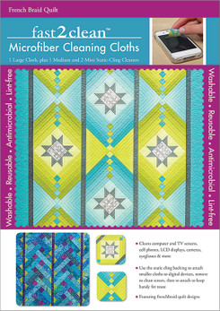 fast2clean French Braid Quilt Microfiber Cleaning Cloths: 1 Large Cloth, plus 1 Medium and 2 Mini Static-Cling Cleaners featuring designs by Jane Hardy Miller #fast2clean