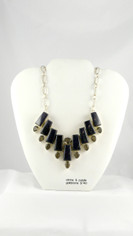 Blue Goldstone with Smoky Topaz Necklace