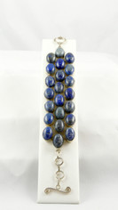 Three Rows Lapis Bracelet in .925 Silver