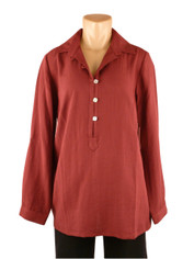 Fridaze Linen Pullover Shirt Berry Red