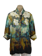 Dressori Silk Shirt in Peony Dreams Print