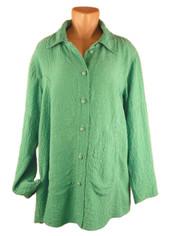 URU Clothing Silk Tuscan Style Blouse in Summer Green