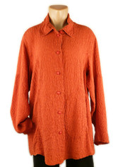 URU Clothing Silk Tuscan Style Blouse in Pumpkin