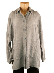 URU Clothing Silk Tuscan Style Blouse in Grey