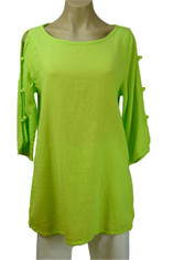 Open Sleeve Cotton Pullover Lime Green