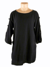 Open Sleeve Cotton Pullover Black