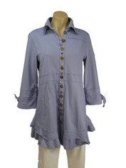 Neon Buddha Detailed Buttons Journey Tunic in Pale Purple